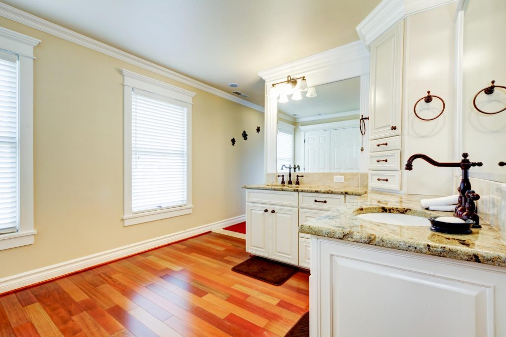 bathroom with marbled sink