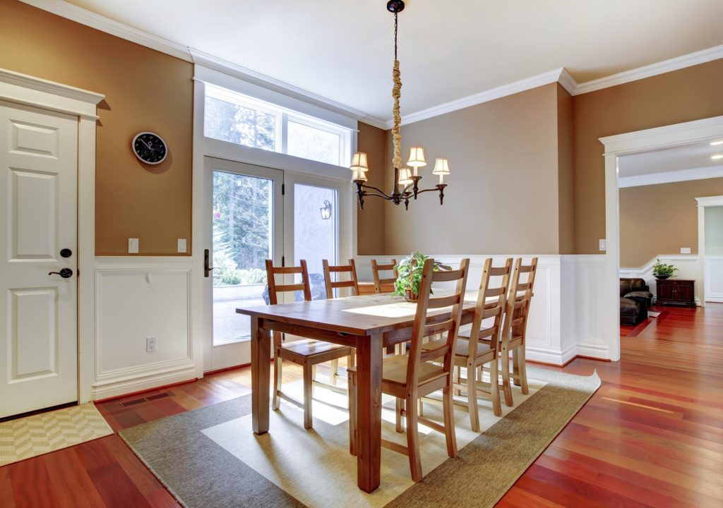 dining table with ceiling lamp
